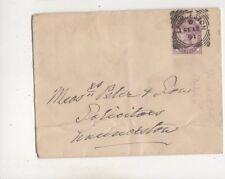Launceston [D] Squared Circle Postmark 12 Feb 1891 QV Cover 610b