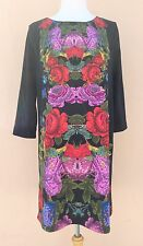 H&M Evening Cocktail Knee Length Dress Floral Print Black Multi M-L