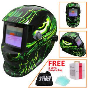 ZOR Solar Auto Darkening Welding Helmet Tig Mig Arc Grinding Welders Mask Alien