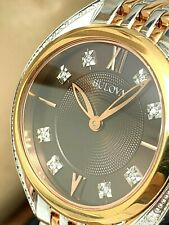 Bulova Women's Watch 98R230 Quartz Diamond Brown Dial Rose Gold Silver Tone 30mm