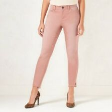 LC Lauren Conrad Jean Jeggings Sz 10 Tall Pink Skinny Frayed Hem Womens NWT