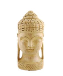 Skulptur Kopf Buddha aus Holz Schwarzen Handwerk Hergestellt Hand Peterandclo