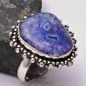 Solar Quartz Ethnic Handmade Ring Jewelry US Size-8.5 AR 31133