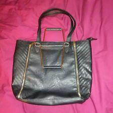 "Icing Cool Hip Large Black Beach Tote Bag Handbag Purse with Zippers 15""x12""x4"""