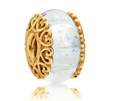 Authentic PANDORA Iridescent White Murano Glass Charm 14K Gold Vermeil 797617