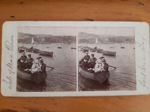 STEREOVIEW Card Photo Isle of Man Port Erin Rowing Boats Women & Baby Child IOM