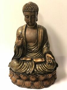 Buddha - ANTIQUE BRASS PROTECTION BUDDHA STATUE/ OVERCOMING FEAR