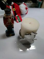 Vintage Candle Christmas Winter Silver Snowman Tea Light Holder New+goodies