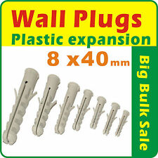 100 x Wall Plugs Plastic Expansion 8mm x 40mm Free Postage