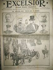 GRAND DUC NICOLAS MISSION MILITAIRE RUSSE A PARIS JOURNAL EXCELSIOR 09/1912