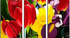 FLORAL PAINTING SPLIT CANVAS ART 3 PANEL FLOWERS framed