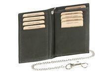 Kreditkarten- und Ausweishülle mit Chrom-Kette LEAS MCL in Echt-Leder, schwarz