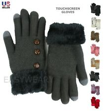 Womens Winter Warm Thermal Knit Thick Fleece Lined Touchscreen Gloves Mittens