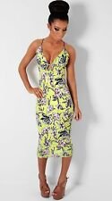 BNWT Pink Boutique Alicante Lime Green Pink Floral Peephole Midi Dress
