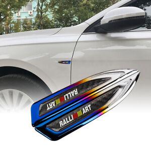 2Pcs RALLIART Burnt Blue Metal Emblem Car Trunk Side Wing Fenders Badge Sticker