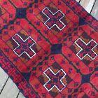 Handmade Afghan Accent Rug Geometric Tribal Design 3x6 Camel Hair, Natural Dyes