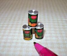 Miniature Quality Brand Canned Foods (Set of 3): DOLLHOUSE Miniatures 1/12 Scale
