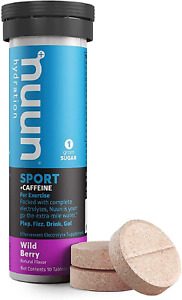 Nuun Sport + Caffeine: Electrolyte Drink Tablets, Wild Berry,10 Count Pack of 1