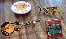4 Hard Rock Cafe Hotel Pins 1990s Vegas Fish Orlando Les Guitar 3rd Golf Vest