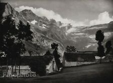 1927 Vintage FRANCE Cirque de Gavarnie Village Mountain Photo Art By HURLIMANN