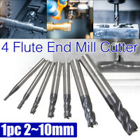 2MM 4 Flute Carbide HSS Straight Shank End Mill CNC Milling Cutter Drill