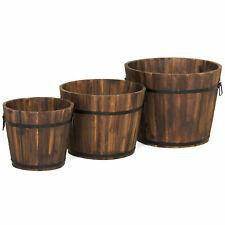 3 Pc Set Rustic Wood Garden Barrel Planter w/ Drainage Holes Handles Metal Frame
