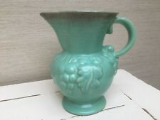 Vintage west germany pottery grapes jug in green/blue