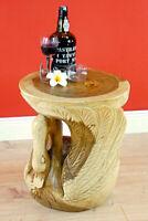 Beistelltisch Holz rund Massivholz Nachttisch geschnitzt Suar Wohnzimmer Tisch