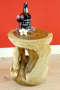 Side Table Wood Round Solid Wood Night Table Carved Suar Living Room Table