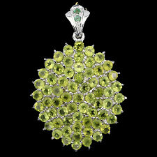 BIG 58x38mm REAL 4mm PERIDOT,EMERALD STERLING 925 SILVER CLUSTER PENDANT ChainFr