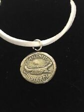 """Mark Antony Denarius Coin WC70 English Pewter On a 18"""" White Cord Necklace"""