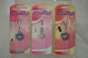 U PICK Cellet PHONE Strap Cellular Cell Phone CHARM Keys Flower HEART Blue Pink