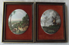 VINTAGE PAIR FRAMED JOHN CONSTABLE STAFFORDSHIRE MOUNTED BONE CHINA MINIATURES