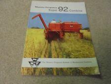 Vintage Massey-Ferguson Super 92 Combine Brochure