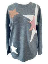 Tu Woman Grey Star Print Soft Knit Jumper Pink Rose Gold Sequins Plus Size 16