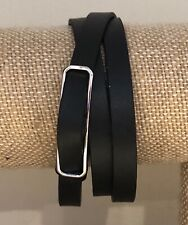 Authentic Origami Owl Black Genuine Leather Triple Wrap Bracelet - NEW