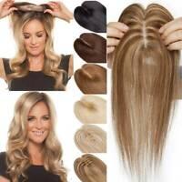 9A 100% Remy Human Hair Mono Silk Base Band Topper Hairpiece Top Piece Women Us