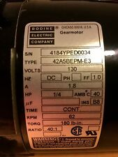 Bodine Gear Motor 42A5BEPM-E3 DC 1/4HP 40:1 Ratio 62 RPM 130V 1.8A