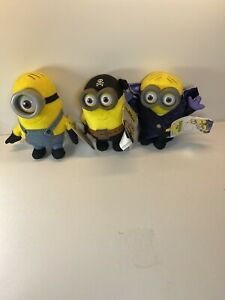 Lot Of 3 Minions Plush - Eye Matie, Gone Batty And Stuart