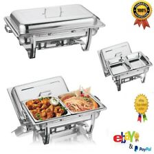 LARGE 2 PANS CHAFING DISH SET STAINLESS STEEL 8.5L PARTY CATER FOOD WARMER FUEL