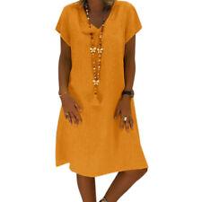 Women Plus Size Summer Casual Tunic Dress Party Loose Beach Mini Sundress