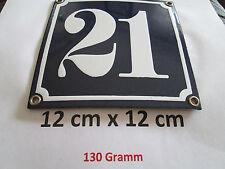 Hausnummer Emaille Nr. 21 weisse Zahl auf blauem Hintergrund 12 cm x 12 cm