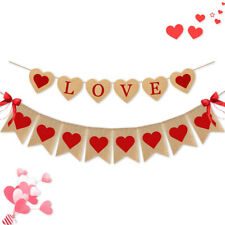 Burlap Love Banner Valentines Day Wedding Party Anniversary Day Party Supplies