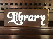 LIBRARY Reading Book Room Nook Sign Plaque U-Pick Color Wooden Rustic Cottage