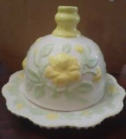 DELIGHTFUL!! Vintage Handmade Handpainted Pottery Butter Dome Yellow Flowers
