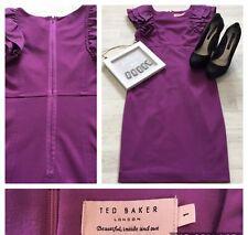 Ted Baker Size 1 UK 8 Ruffle Wiggle Dress Career Occasion Sleeveless