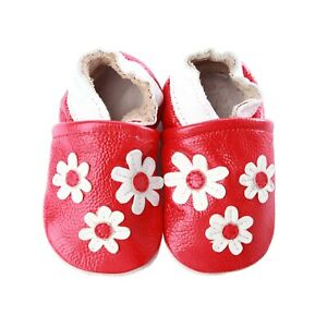 Kidzuu Soft Sole Baby Infant Leather Crib Shoe-Red Girl Shoes 3 White Flowers