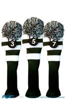 Tour #3, #5, #7 Fairway Metal Wood Green White Golf Headcover Knit Pom Pom Cover