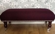 A Quality Long Footstool In Laura Ashley New Dalton Blackberry Fabric