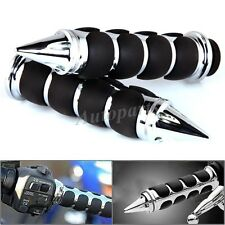 "Chrome Black Spike HAND GRIPS 1"" Handlebar Motorcycle FOR Harley Honda Yamaha US"